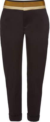 Haider Ackermann Cropped Cotton Pants with Grosgrain Ribbon