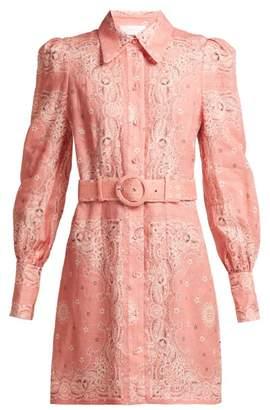 Zimmermann Heathers Bandana Print Linen Shirtdress - Womens - Pink Print