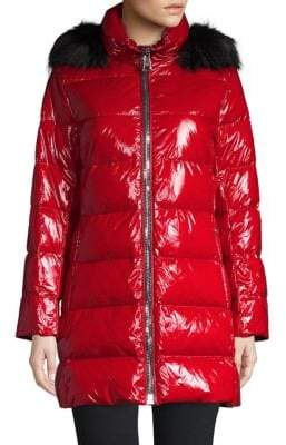 Donna Karan Faux Fur-Trimmed Down Puffer Coat