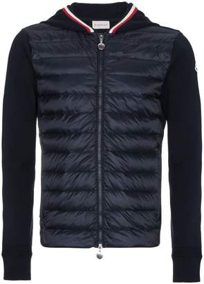 Moncler Quilted Shell Down Jacket with Knitted Sleeves
