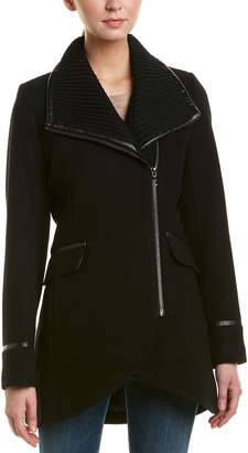 Trina Turk Macken Leather-Trim Wool-Blend Coat