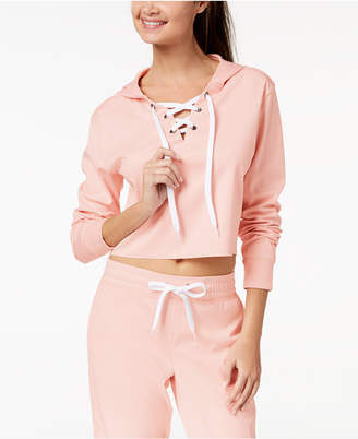 Material Girl Active Juniors' Cropped Lace-Up Hoodie, Created for Macy's