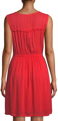 Joan Vass Solid Gauze Lace-Up Dress