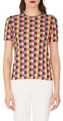Akris Round-Neck Short-Sleeve Check Silk Knit Pullover