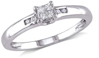MODERN BRIDE 1/8 CT. T.W. Diamond Sterling Silver Multi-Top Engagement Ring