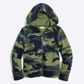 J.Crew Boys' long-sleeve full-zip hoodie in camo print