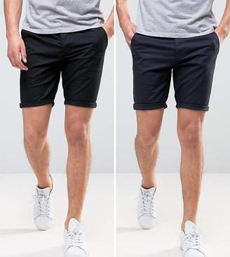Asos DESIGN 2 Pack Skinny Chino Shorts In Black & Navy SAVE