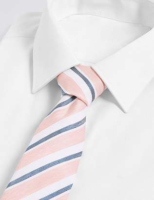 Marks and Spencer Silk with Linen Shadow Club Stripe Tie