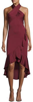 Shoshanna Boswell Crossover Asymmetric Ruffled High-Low Cocktail Dress