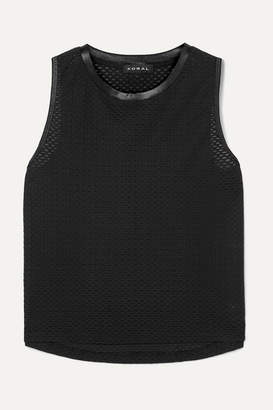 Koral Muscle Satin-trimmed Stretch-mesh Tank - Black