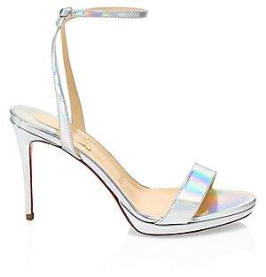 4b6f3bf5b37d Christian Louboutin Women s Loubi Queen Iridescent Leather Ankle-Strap  Sandals