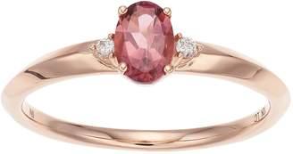 Lauren Conrad 10k Rose Gold Pink Tourmaline & Diamond Accent Oval Ring
