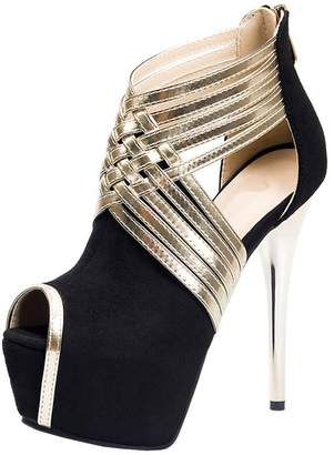 Pleaser USA fereshte Women's Sexy Peep-Toe Stiletto Sandal High Heels Platform Pumps for Party Prom Blue US 6.5