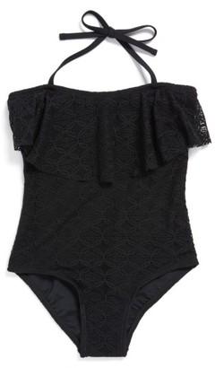 Girl's Gossip Girl Crochet Flounce One-Piece Swimsuit $40 thestylecure.com