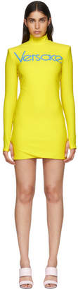Versace Yellow Embroidered Logo Jersey Dress