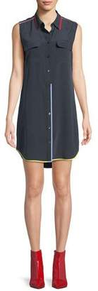 Equipment Contrast-Trim Signature Slim Silk Dress