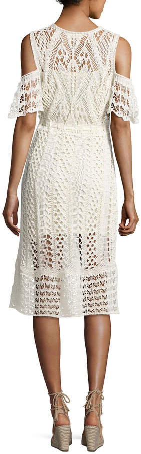 See by Chloe Cold-Shoulder Macrame Midi Dress, White