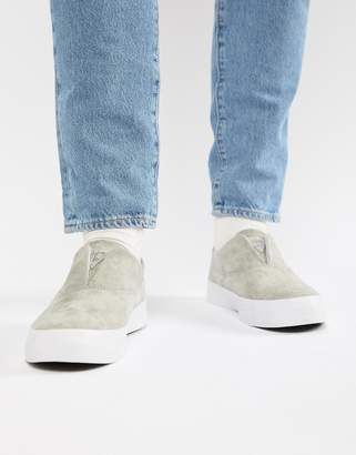 HUF Dylan slip on sneakers in gray suede