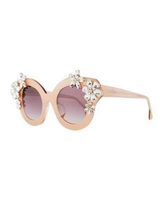 Alice + Olivia Madison Floral Swarovski®; Cat-Eye Sunglasses, Blush