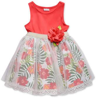 Sweet Heart Rose Glitter-Mesh Floral-Print Dress, Toddler Girls