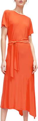 Warehouse Asymmetric Midi Dress, Bright Red
