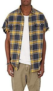 R 13 Men's Plaid Frayed Flannel Shirt - Yellow