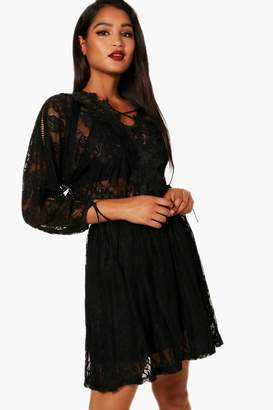 boohoo Lace Up Back All Over Lace Skater Dress