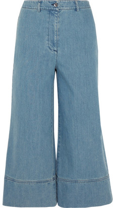 Michael Kors Collection - Cropped High-rise Wide-leg Jeans - Mid denim $495 thestylecure.com