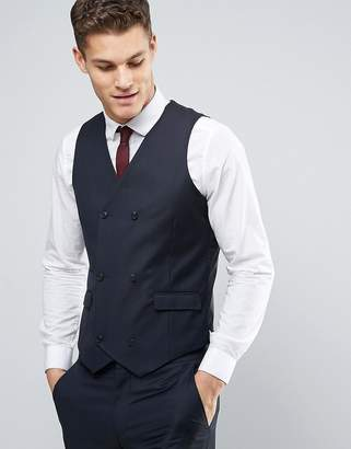 Asos DESIGN Wedding Slim Suit Vest in Dark Navy 100% Wool