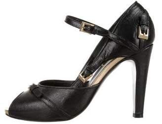 Fendi Buckle Peep-Toe Heels