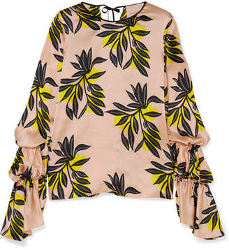 Roksanda Nezu Floral-print Silk-satin Blouse - Pastel pink