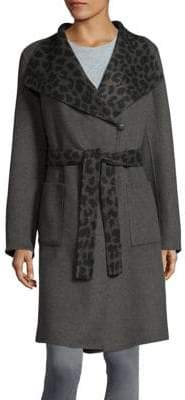 1 Madison Animal Print Wrap Coat