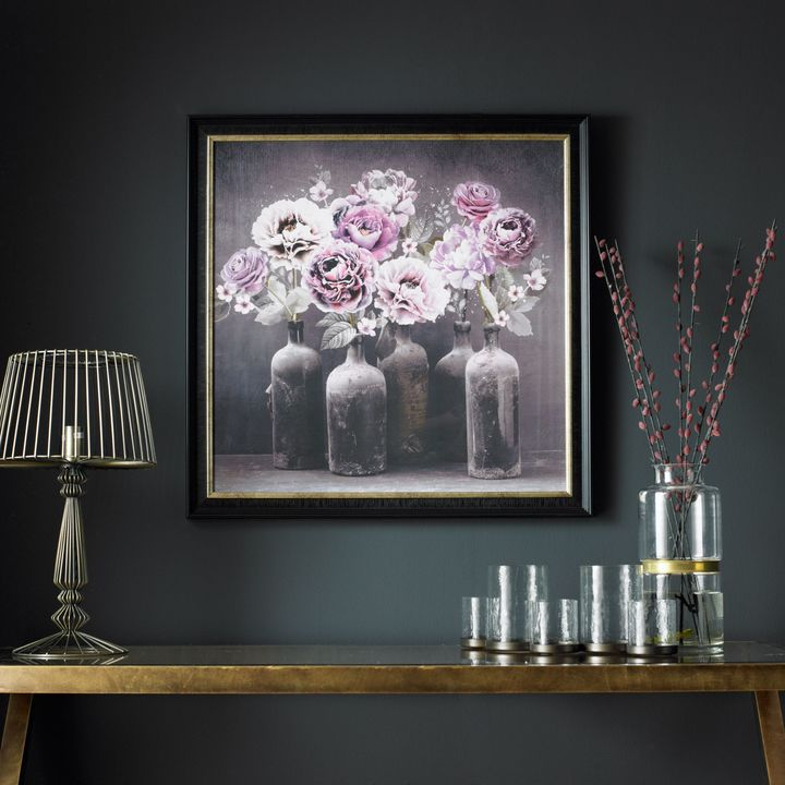 Graham brown bloom floral framed print wall art home Ritzy uk home with glam metallic accents