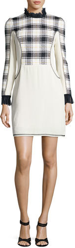 3.1 Phillip Lim3.1 Phillip Lim Long-Sleeve Surf Plaid Mini Dress, Midnight/Black/White