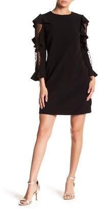 Nicole Miller Long Sleeve Crepe Ruffle Sleeve Dress