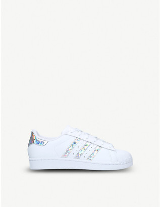 a602ae81b76 adidas Superstar iridescent-stripe leather trainers 9-11 years