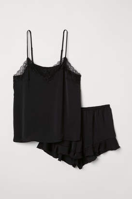 H&M Pajama Top and Shorts - Black