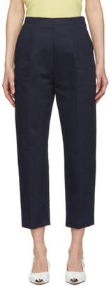 Marni Navy Drill Cropped Trousers