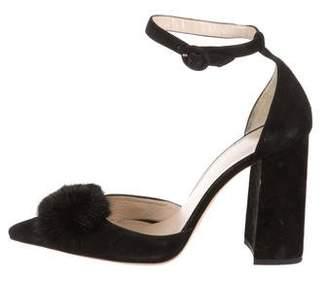 Frances Valentine Marybeth Fur-Accented Pumps