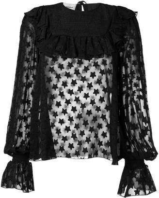Dondup star ruffled sheer blouse