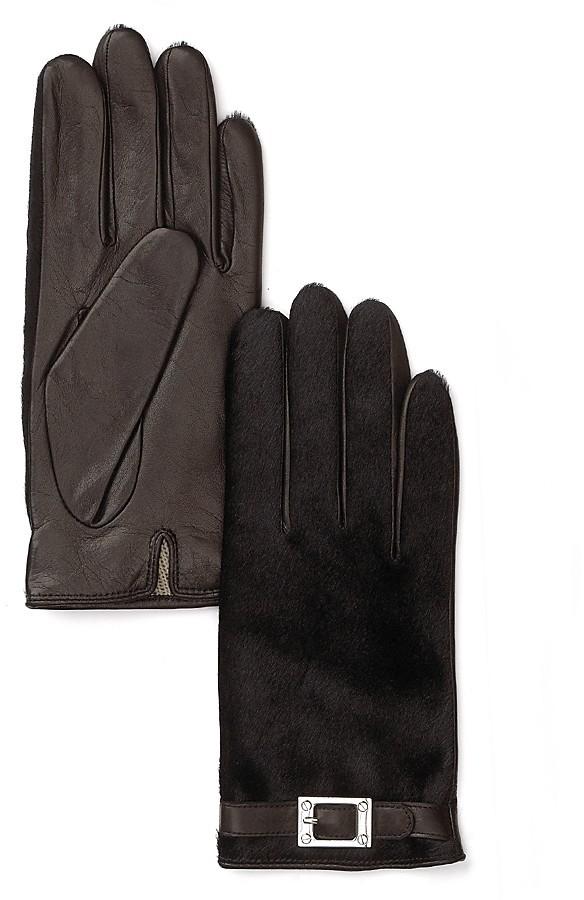 Rachel Zoe Haircalf Gloves With Lamb Piping