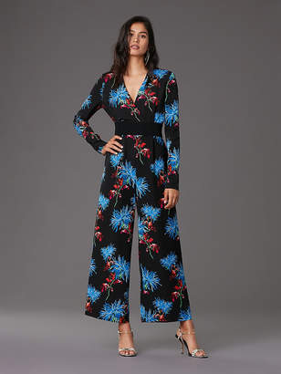 Diane von Furstenberg Long-Sleeve Cross Over Jumpsuit