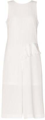 Paisie Jumpsuit With Asymmetric Side Frill With Self Belt In White