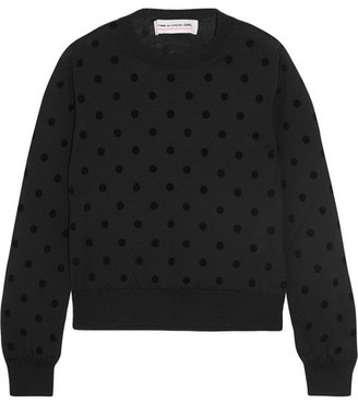 Comme des Garçons GIRL - Flocked Wool-jersey Sweater - Black $595 thestylecure.com
