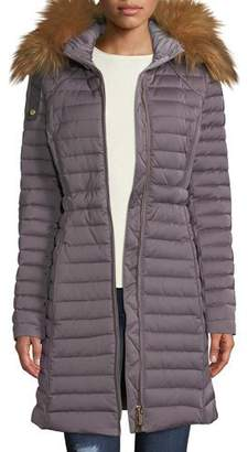 Hunter Refined Long Puffer Coat w/ Faux Fur Hood