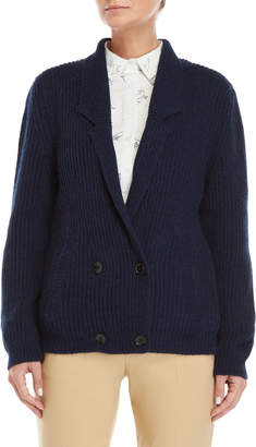 Le Mont St Michel Navy Double-Breasted Cardigan