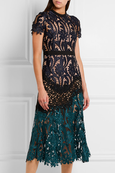 Self-Portrait - Prairie Guipure Lace Midi Dress - Midnight blue 2