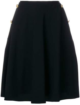 Lanvin button detail A-line skirt