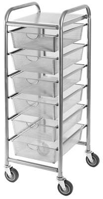 Seville 6-Drawer Steel Mesh Organizer Cart