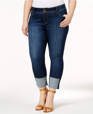 KUT from the Kloth Plus Size Cameron Supple Wash Cuffed Straight-Leg Jeans
